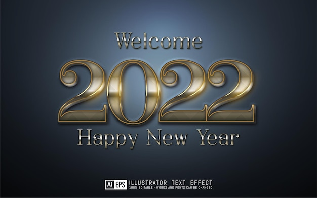 Editable text number 2022 with pattern style effect on dark background