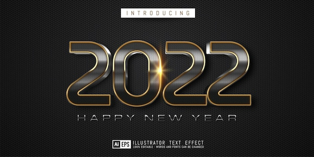 Editable text number happy new year 2022 in carbon concept