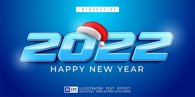 Editable text number happy new year 2022 modern design on blue concept