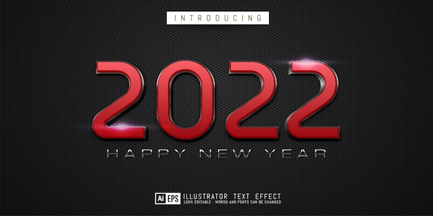 Editable text number happy new year 2022 in red color concept