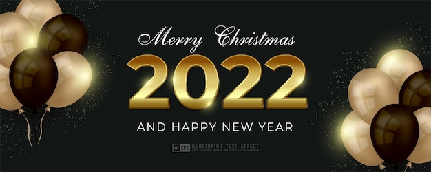 Editable text and number happy new year gold text style concept