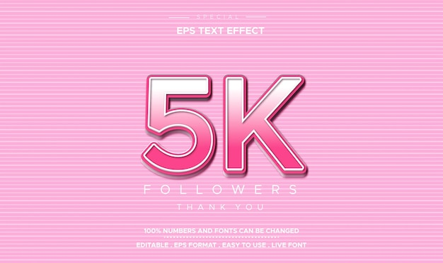 Editable text style 5k followers number effect