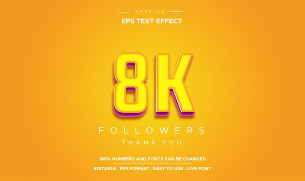 Editable text style 8k followers number effect
