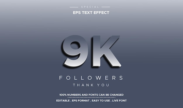 Editable text style 9k followers number effect