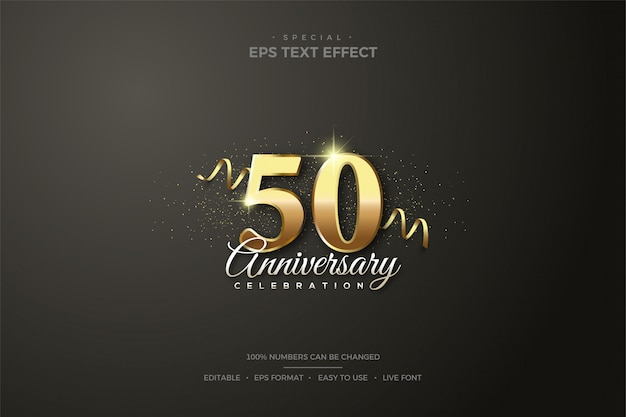 Editable text style effect 50th gold number birthday celebration.