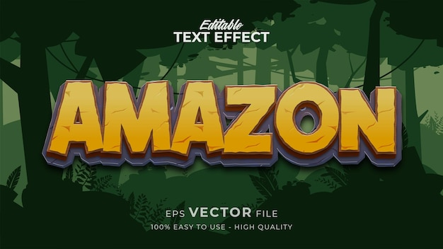 Editable text style effect - amazon cartoon text style theme
