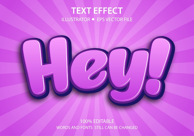 Editable text style effect cute hey premium