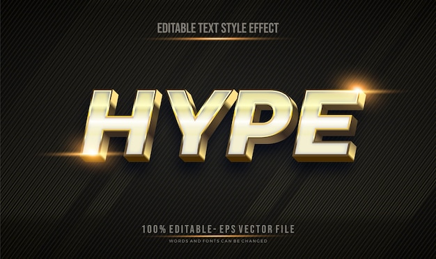 Editable text style effect effect with shiny gold color theme