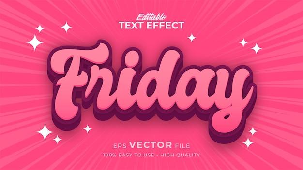 Editable text style effect - friday retro text style theme