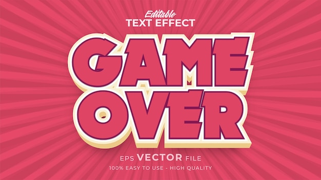 Editable text style effect - game over text style theme