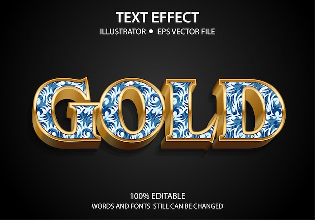 Editable text style effect gold premium