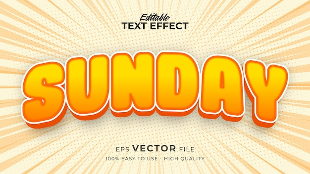 Editable text style effect - happy sunday text style theme Premium Vector