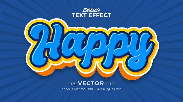 Редактируемый эффект стиля текста - тема стиля счастливого текста