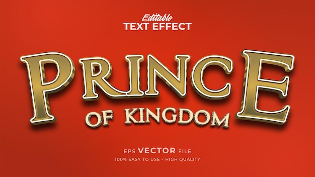 Editable text style effect - luxury prince gold text style theme