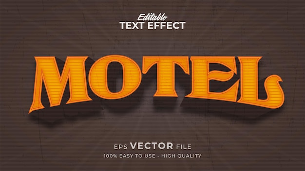 Editable text style effect - luxury retro motel text style theme