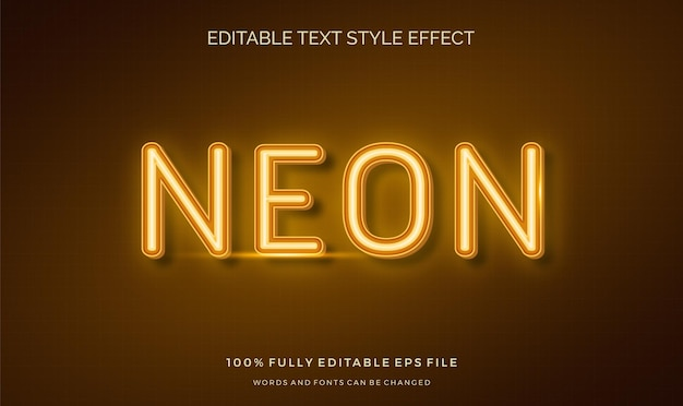 Editable text style effect neon light theme bright color.