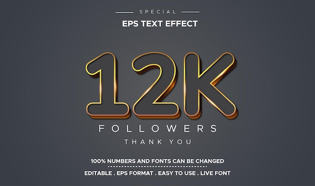 Editable text style effect number 12k followers
