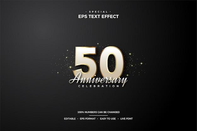 Редактируемый текстовый эффект стиля 50-х белых и золотых чисел.
