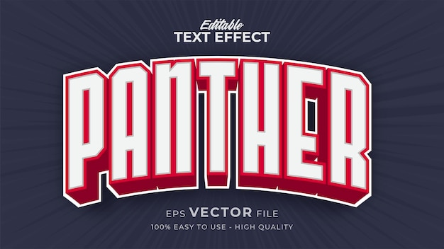Editable text style effect - panther text style theme