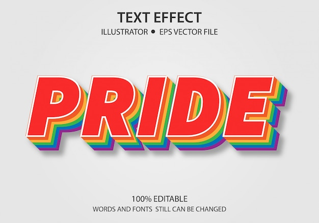 Editable text style effect pride