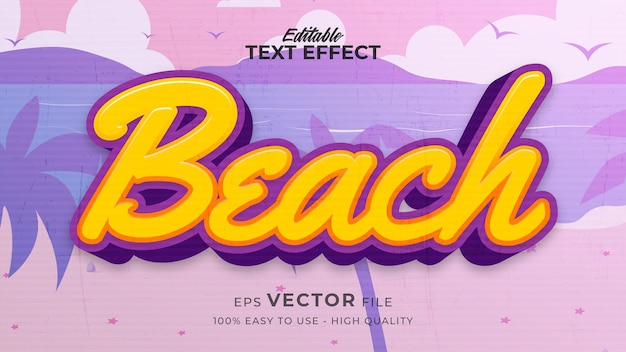 Editable text style effect - retro beach text style theme