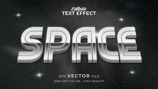 Editable text style effect - retro space with silver text style theme