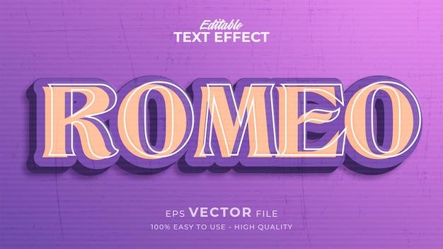 Editable text style effect - romeo retro text style theme