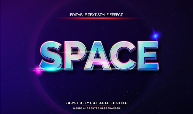Editable text style effect space theme bright color.