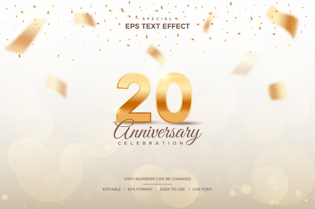 Editable text style effect with 20th anniversary numbers. Premium Vector