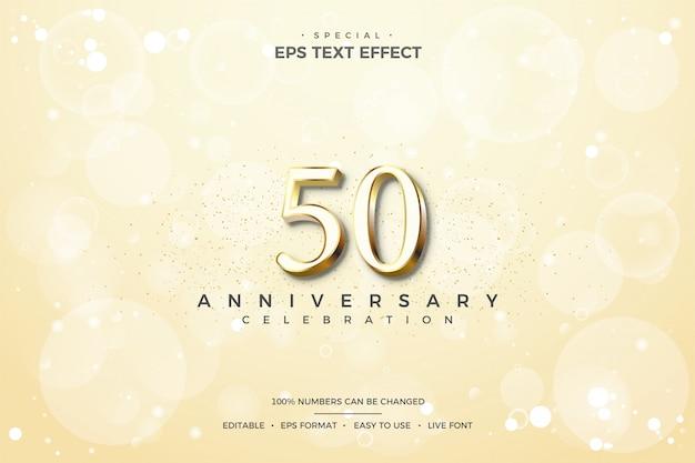 50周年記念ゴールデン番号と編集可能なテキストスタイルの効果。