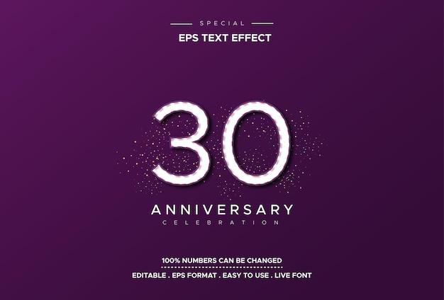 Редактируемый эффект стиля текста с номерами годовщины