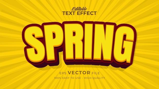 편집 가능한 텍스트 스타일 효과-노란색 봄 텍스트 스타일 테마