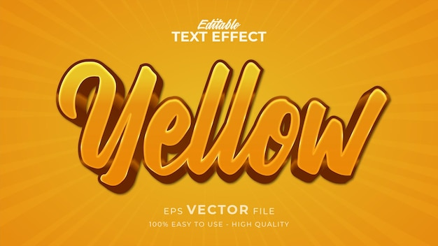 Editable text style effect - yellow text style theme