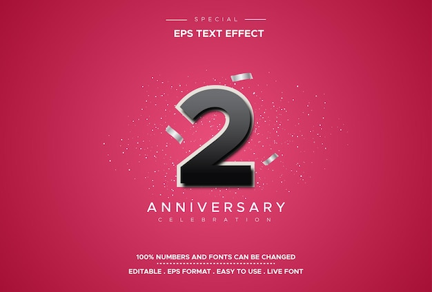 Editable text style effects with second anniversary