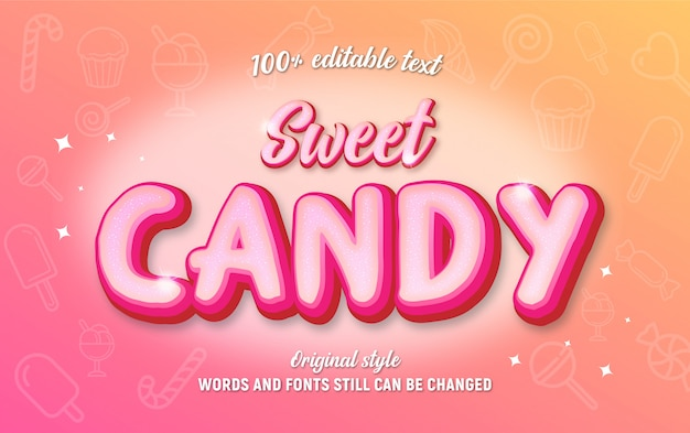 Editable text sweet candy pink color with sparkles.