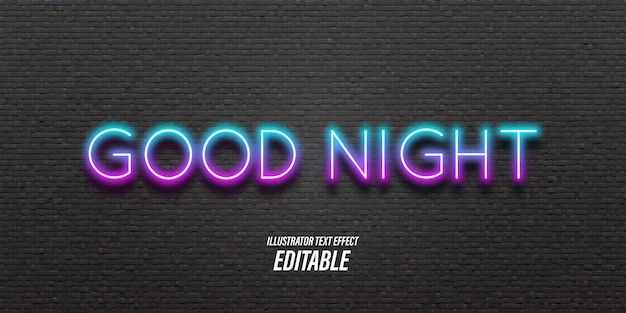 Editable text with neon and 3d light effects