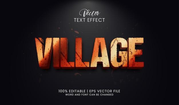 어두운 배경에서 편집 가능한 마을 텍스트 효과