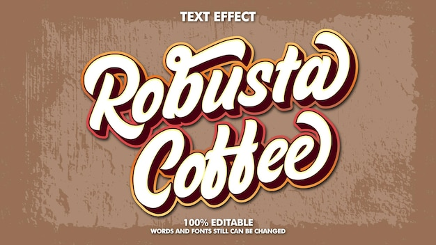 Editable vintage retro text effect design typography template for coffee name