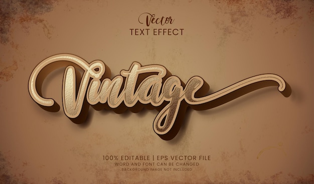 Editable vintage textured text effect style