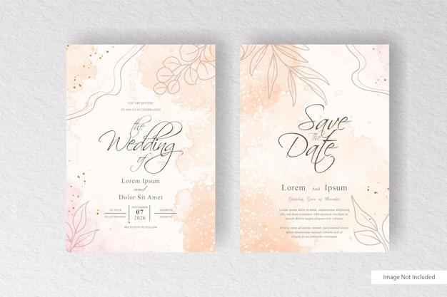 カラフルな水彩スプラッシュと抽象的な動的な流体と編集可能な水彩画と花の結婚式の招待状のテンプレート