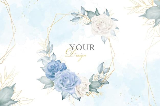 花と手描きの花の幾何学的なフレームを配置した編集可能な水彩画の花のデザイン