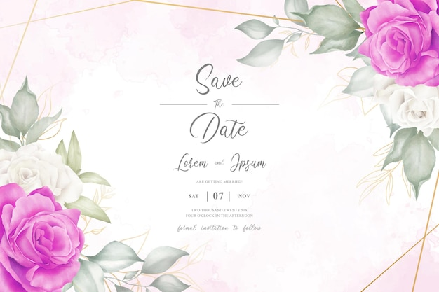 Editable watercolor floral design with arrangement floral and hand drawn floral geometric frame