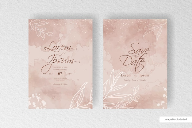 Editable watercolor and floral wedding invitation template with colorful watercolor splash and abstract dynamic fluid