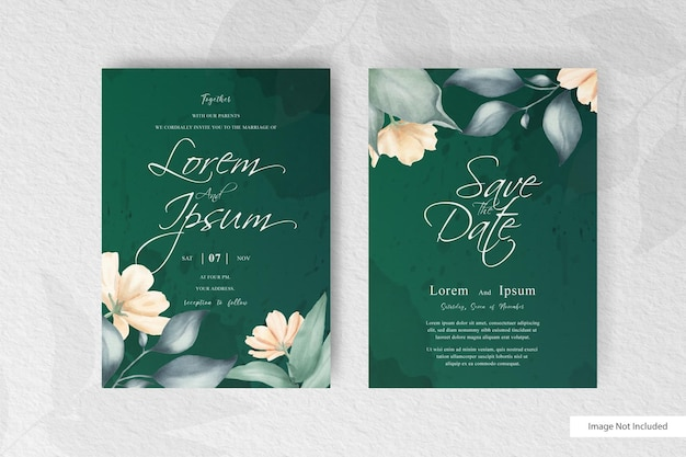 Editable watercolor wedding invitation card set template