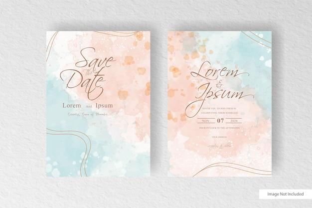 水彩スプラッシュの背景と抽象的な動的流体と編集可能な水彩結婚式の招待状のテンプレート