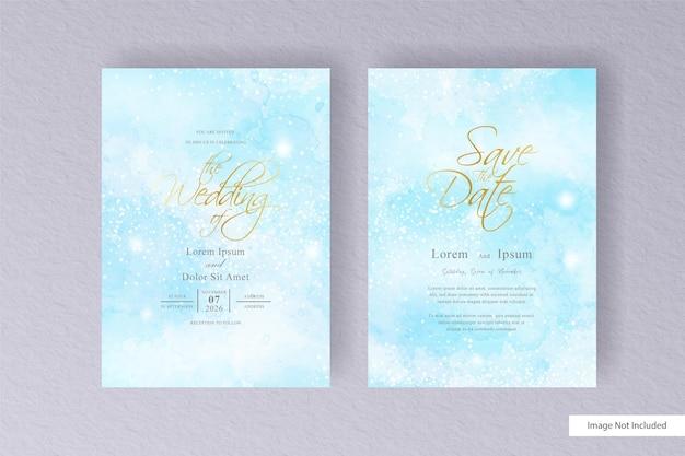 미니멀 스타일과 화려한 손으로 그린 액체 수채화가있는 편집 가능한 수채화 weding 카드