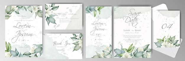 花のフレームと水彩画のアレンジメントと編集可能な結婚式の招待カードバンドルテンプレート