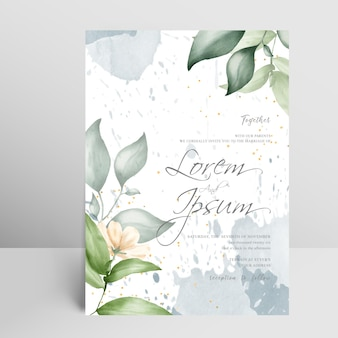 花のフレームと水彩画のアレンジメントと編集可能な結婚式の招待カードセットテンプレート