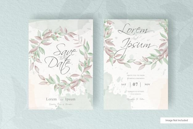 손으로 그린 꽃 배열 편집 가능한 결혼식 초대 카드 세트 템플릿