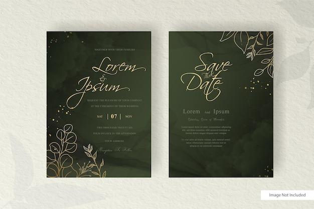 편집 가능한 결혼식 초대 카드 설정 수채화 스플래시와 꽃 배열 템플릿